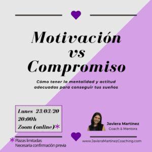 Cartel del taller Motivación vs Compromiso